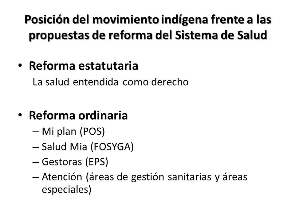 Posición del movimiento indígena frente a las propuestas de reforma del Sistema de Salud