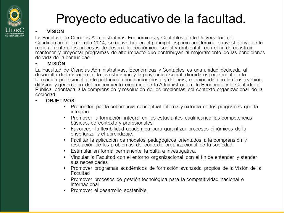 Proyecto educativo de la facultad.