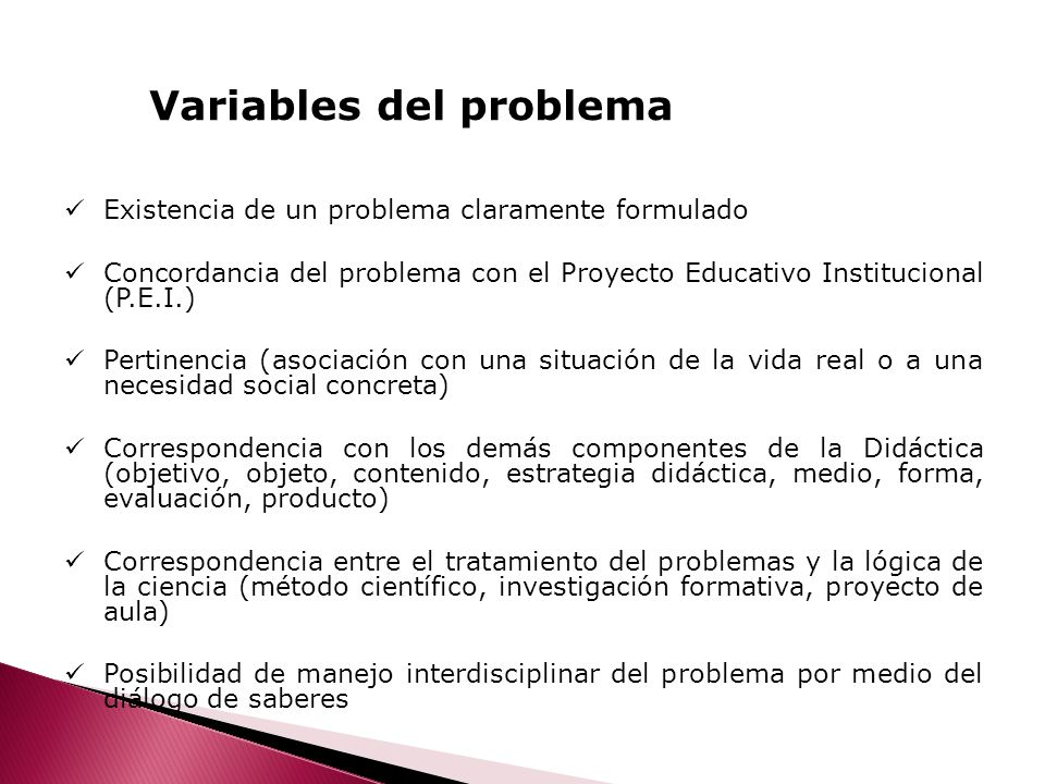 Variables del problema