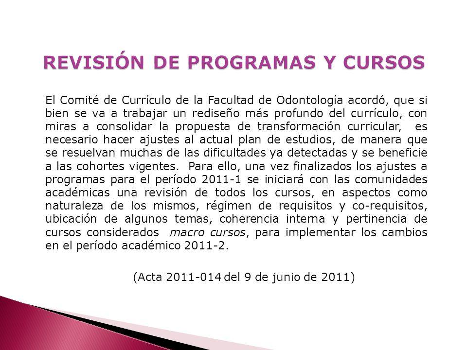 REVISIÓN DE PROGRAMAS Y CURSOS