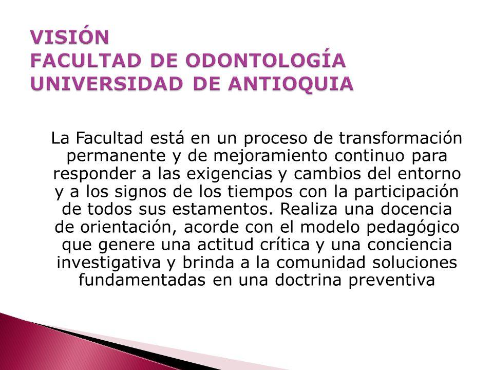 VISIÓN FACULTAD DE ODONTOLOGÍA UNIVERSIDAD DE ANTIOQUIA