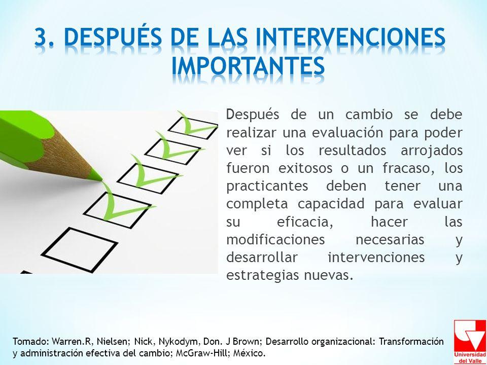 3. DESPUÉS DE LAS INTERVENCIONES IMPORTANTES