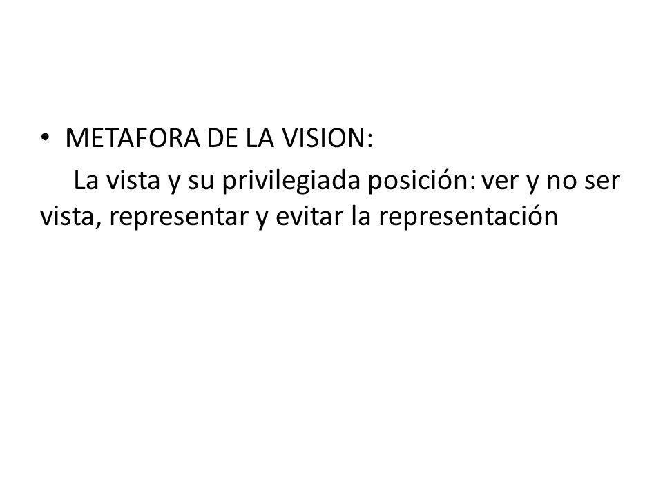 METAFORA DE LA VISION: La vista y su privilegiada posición: ver y no ser vista, representar y evitar la representación.