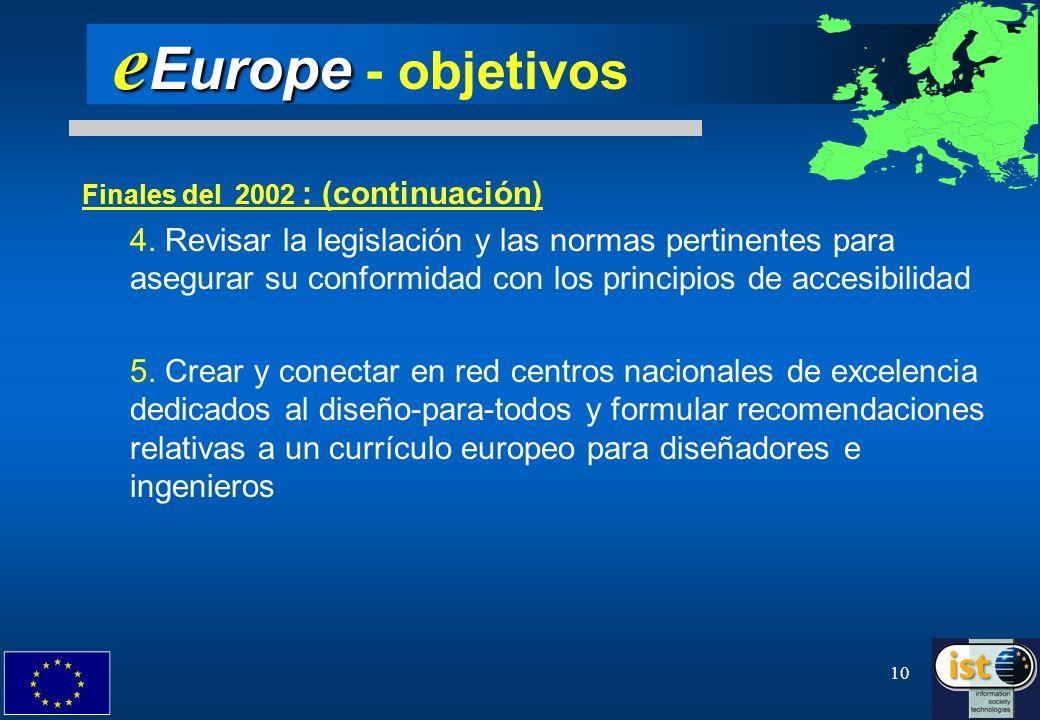 eEurope - objetivosFinales del 2002 : (continuación)