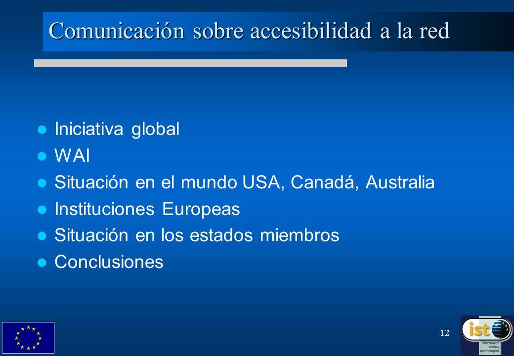 Comunicación sobre accesibilidad a la red