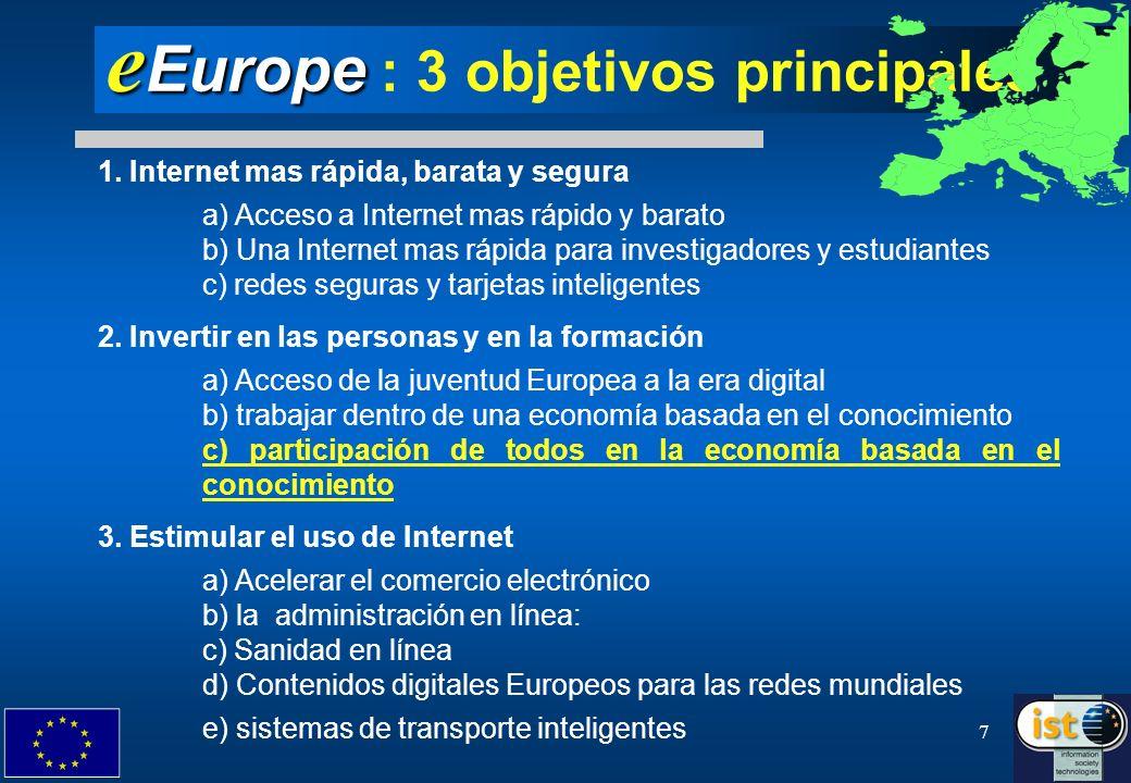 eEurope : 3 objetivos principales
