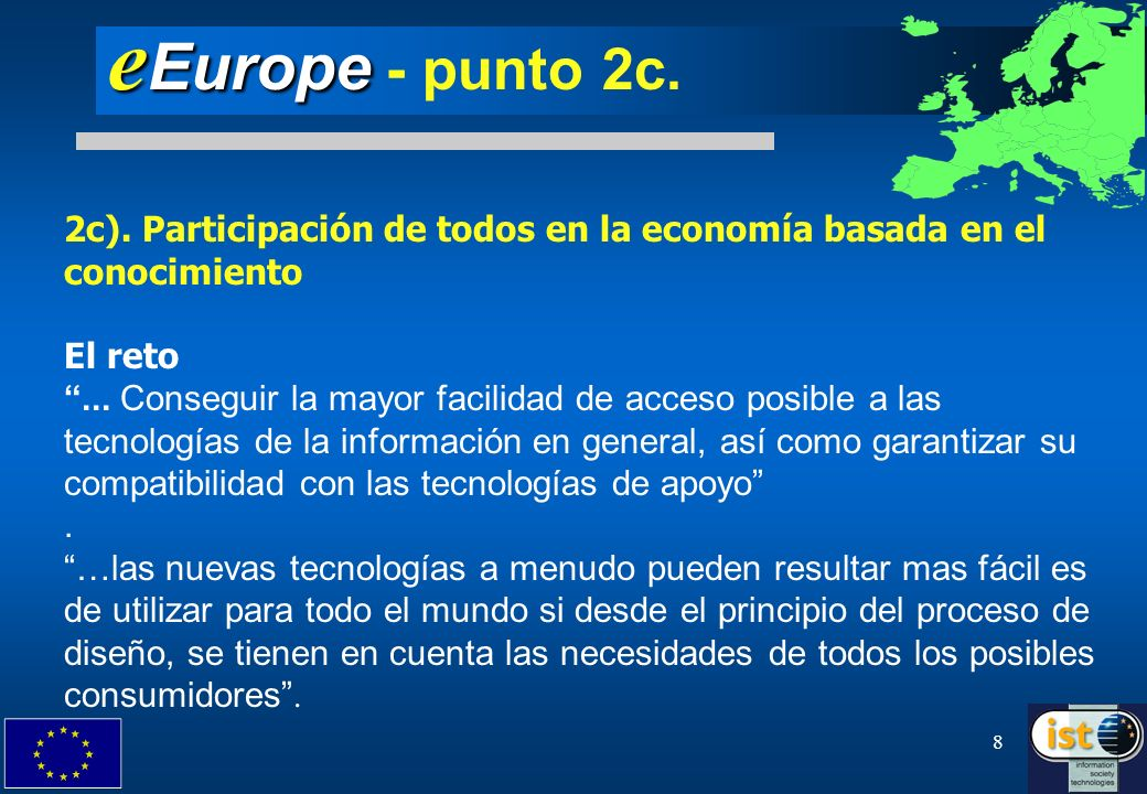 eEurope - punto 2c.2c). Participación de todos en la economía basada en el conocimiento. El reto.