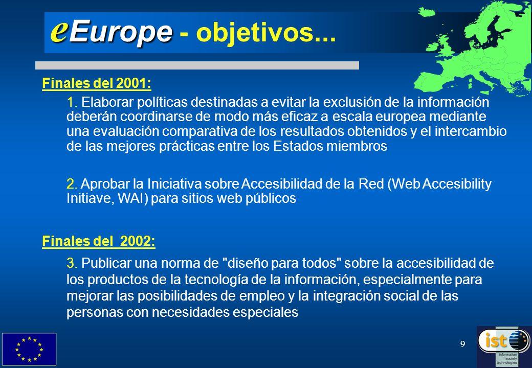 eEurope - objetivos... Finales del 2001: