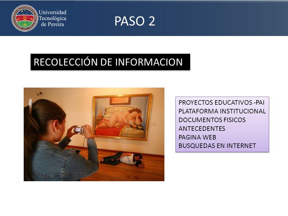 PASO 2 RECOLECCIÓN DE INFORMACION PROYECTOS EDUCATIVOS -PAI