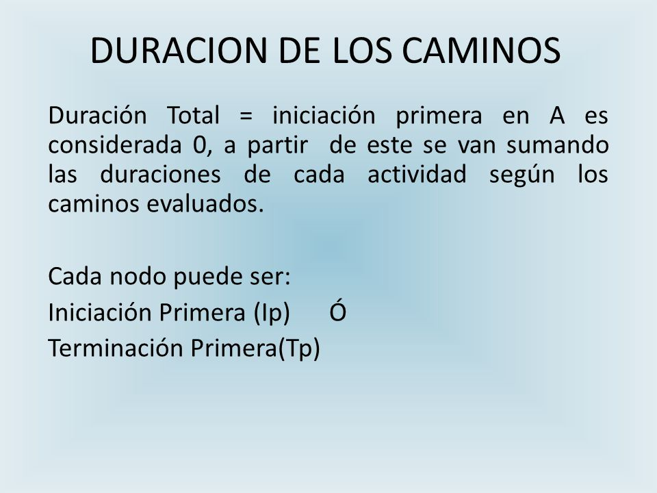 DURACION DE LOS CAMINOS