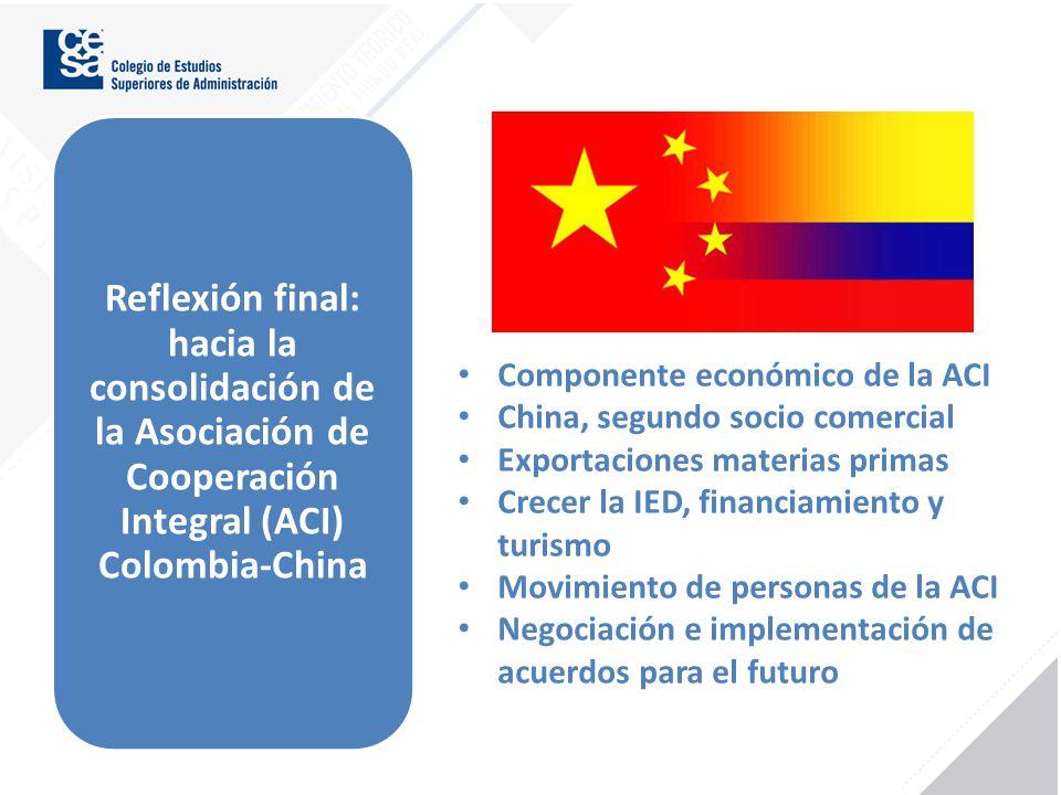 Reflexión final: hacia la consolidación de la Asociación de Cooperación Integral (ACI) Colombia-China