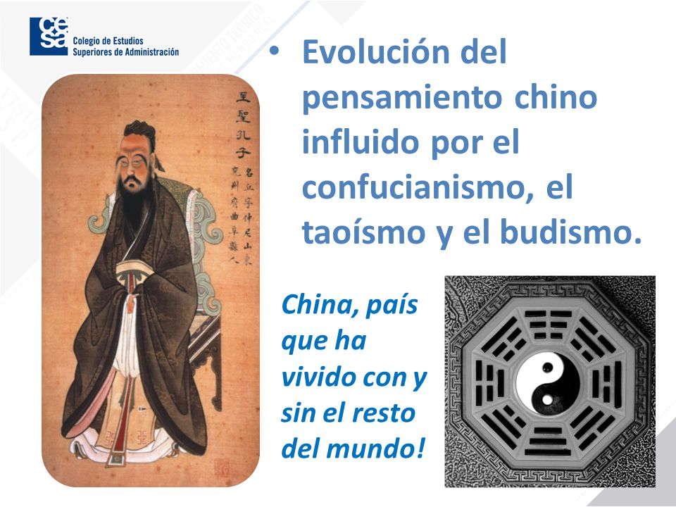 Evolución del pensamiento chino influido por el confucianismo, el taoísmo y el budismo.