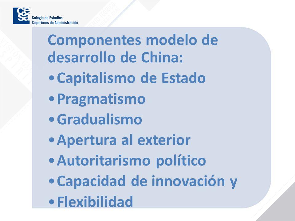 Componentes modelo de desarrollo de China: