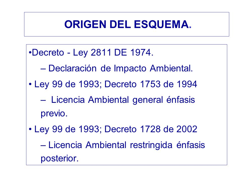 ORIGEN DEL ESQUEMA. Decreto - Ley 2811 DE 1974.