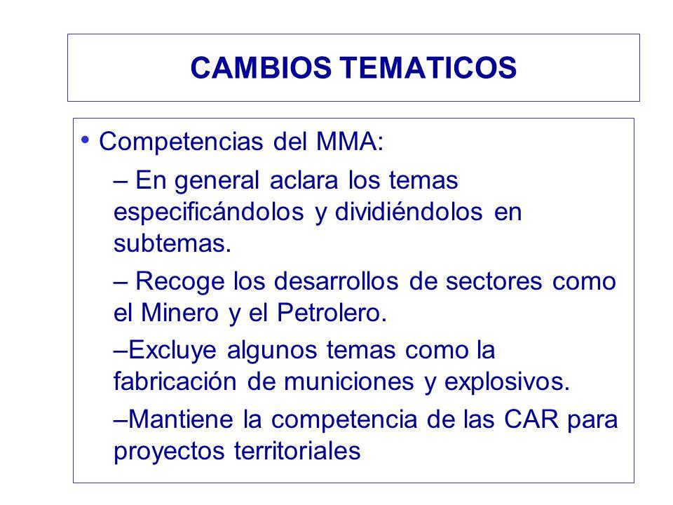 CAMBIOS TEMATICOS Competencias del MMA:
