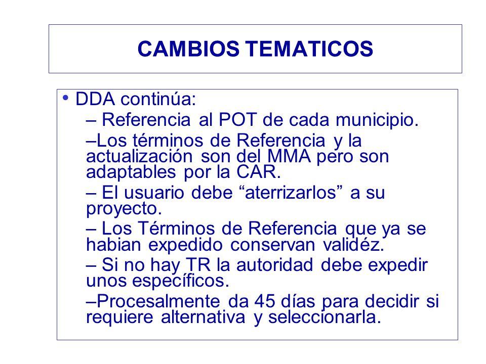 CAMBIOS TEMATICOS DDA continúa: Referencia al POT de cada municipio.