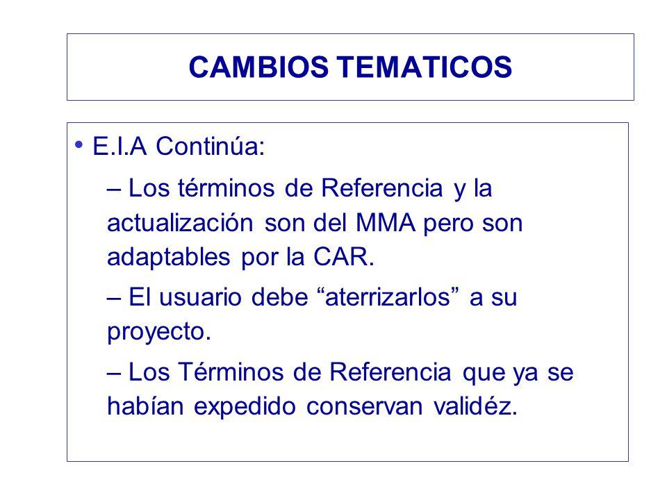 CAMBIOS TEMATICOS E.I.A Continúa: