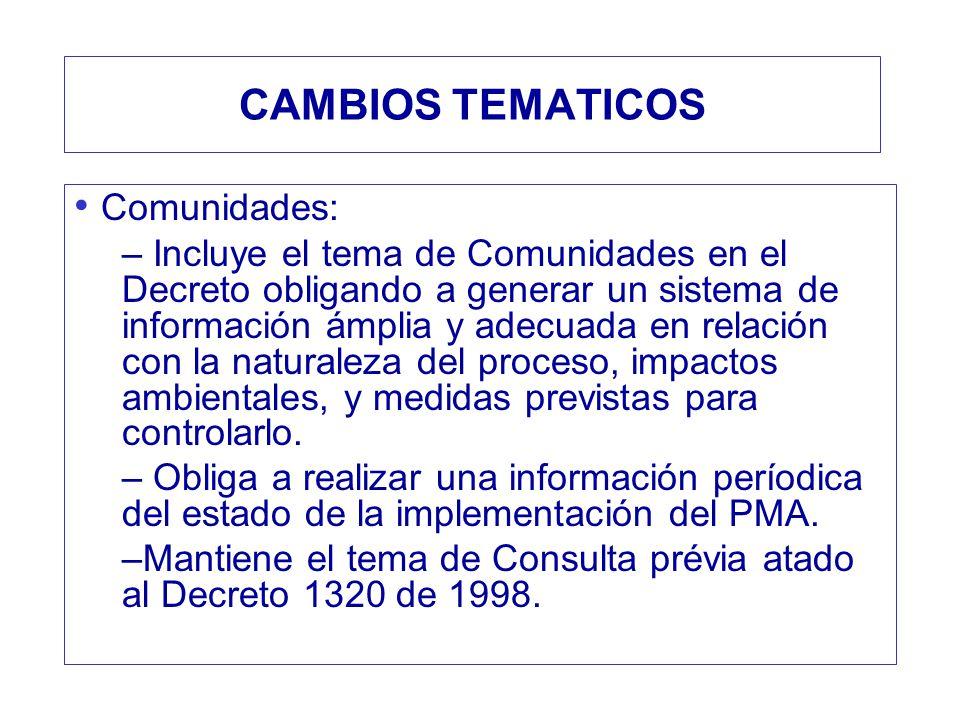 CAMBIOS TEMATICOS Comunidades: