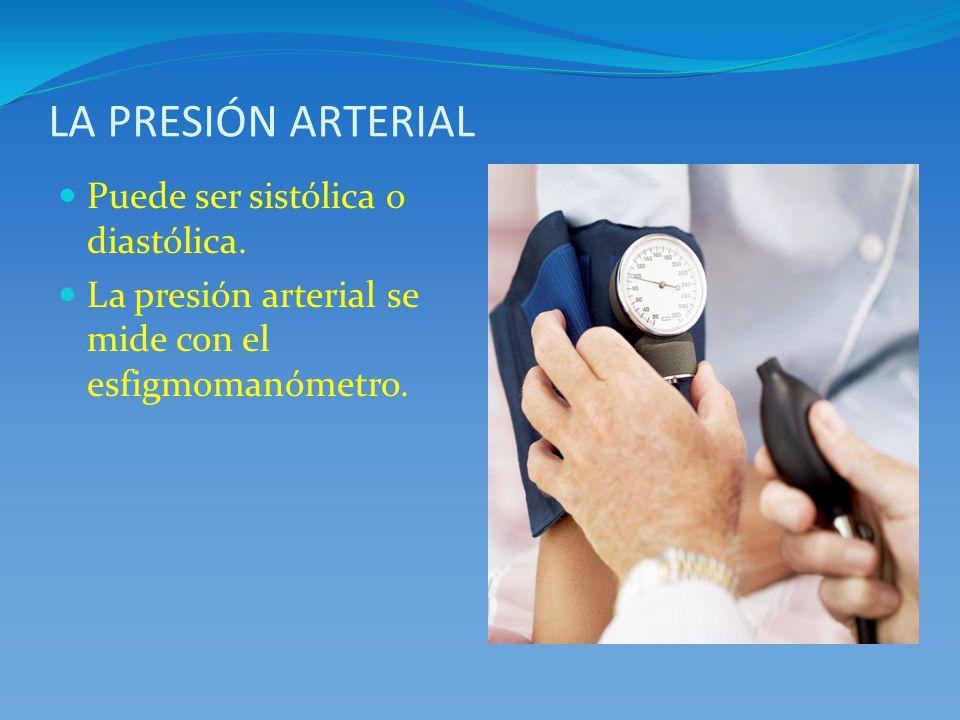 LA PRESIÓN ARTERIAL Puede ser sistólica o diastólica.