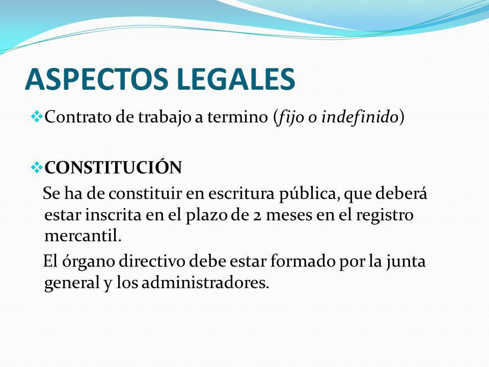 ASPECTOS LEGALES Contrato de trabajo a termino (fijo o indefinido)
