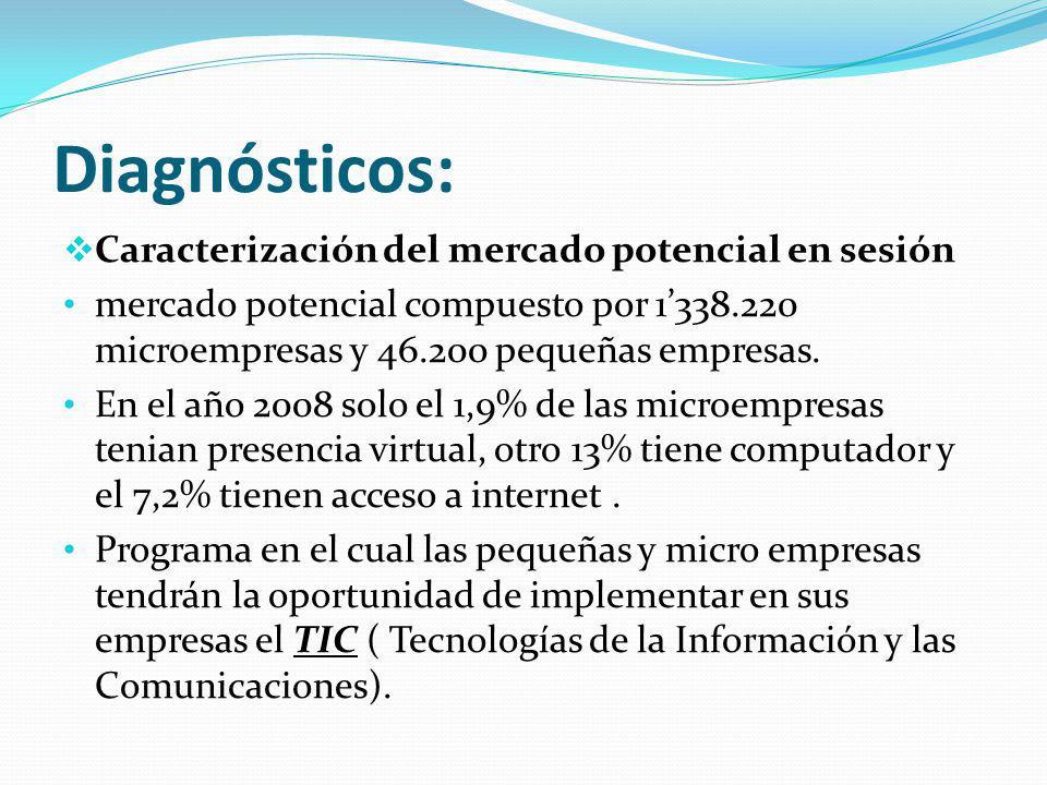 Diagnósticos: Caracterización del mercado potencial en sesión
