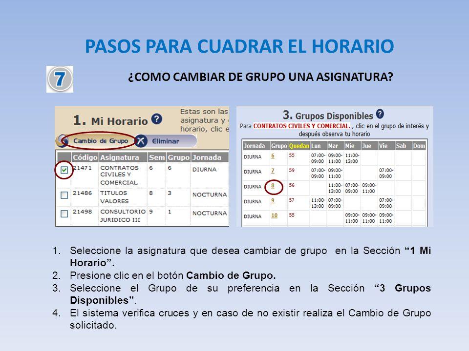 PASOS PARA CUADRAR EL HORARIO