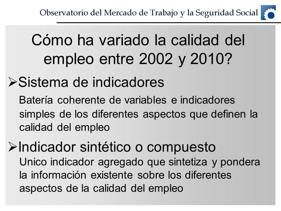 Cómo ha variado la calidad del empleo entre 2002 y 2010
