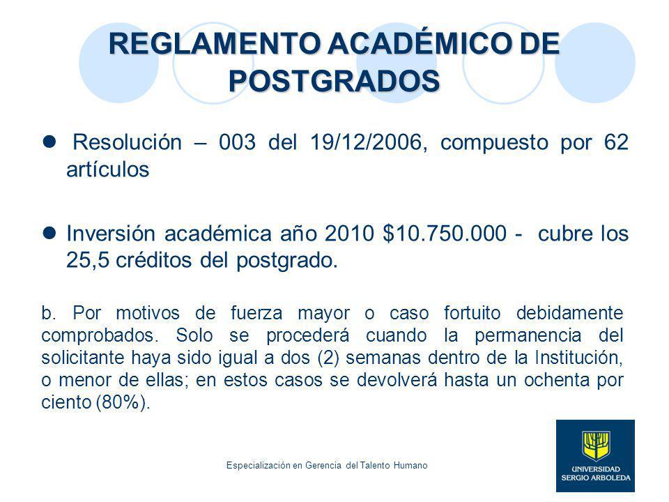 REGLAMENTO ACADÉMICO DE POSTGRADOS