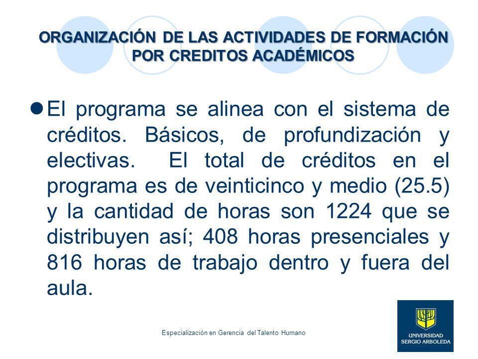 ORGANIZACIÓN DE LAS ACTIVIDADES DE FORMACIÓN POR CREDITOS ACADÉMICOS