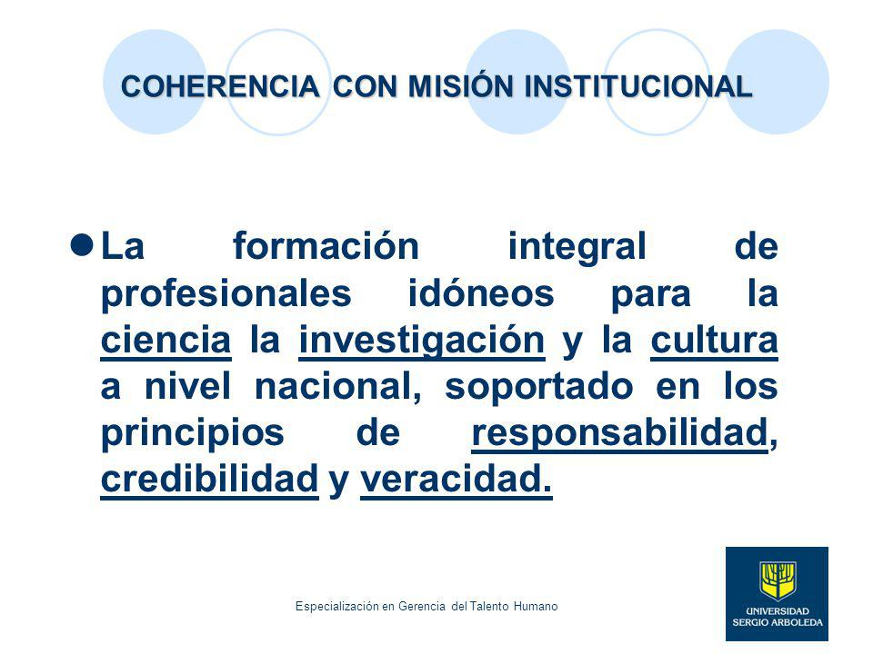 COHERENCIA CON MISIÓN INSTITUCIONAL