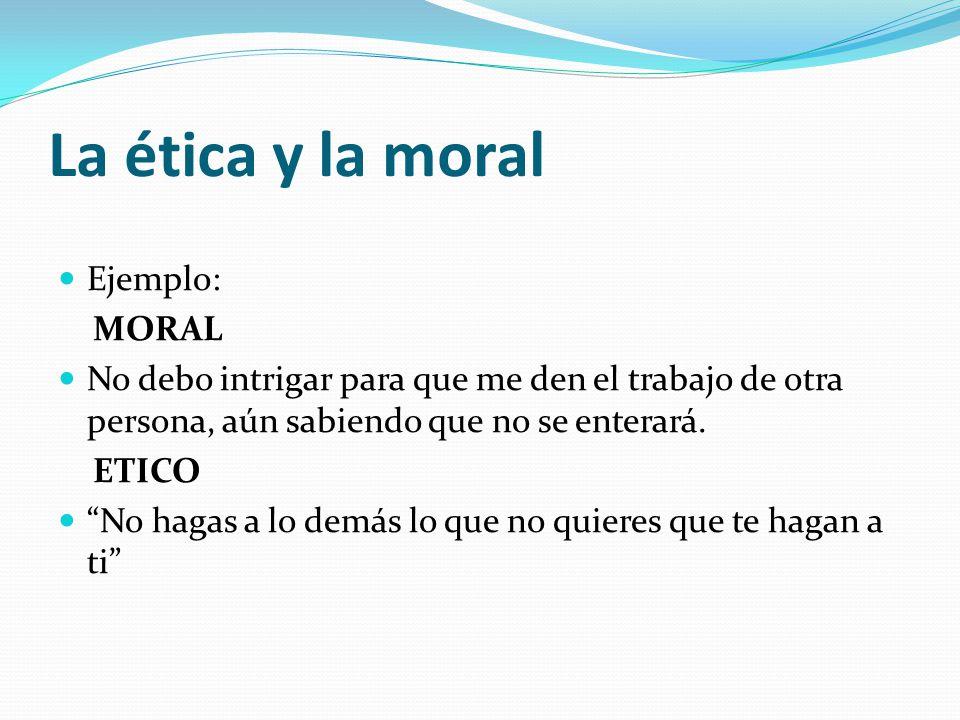 La ética y la moral Ejemplo: MORAL