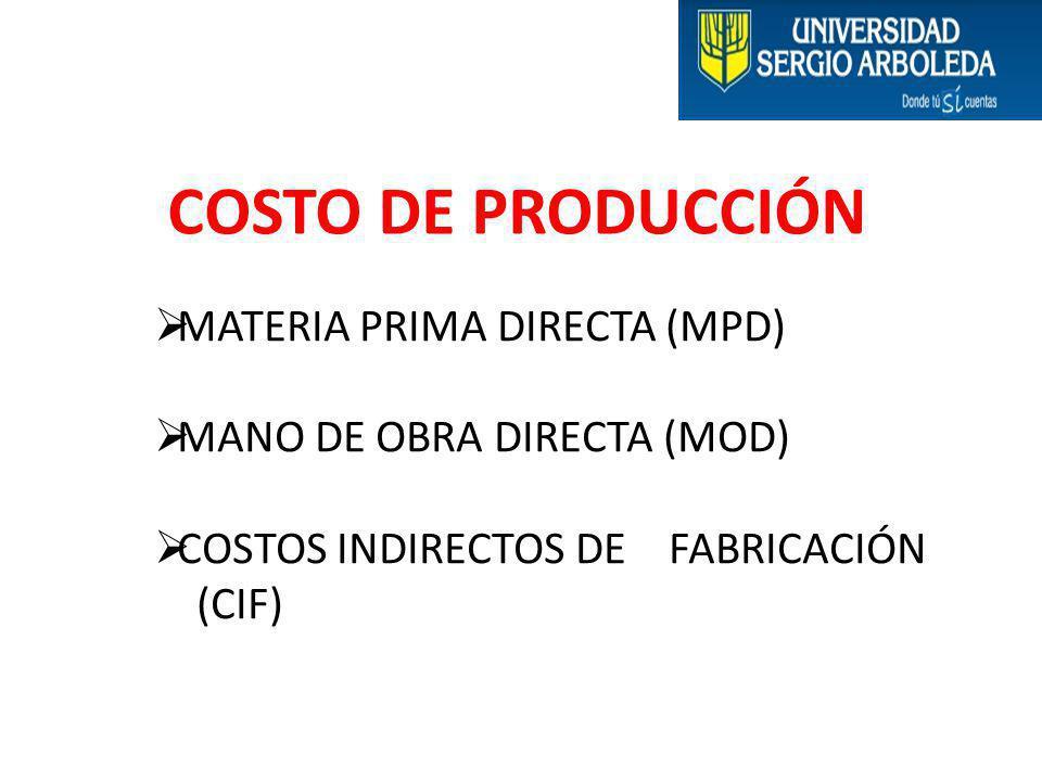 COSTO DE PRODUCCIÓN MATERIA PRIMA DIRECTA (MPD)