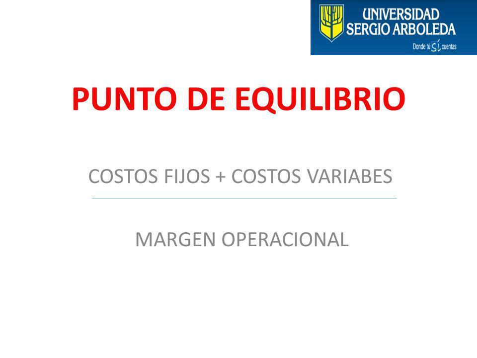 COSTOS FIJOS + COSTOS VARIABES MARGEN OPERACIONAL