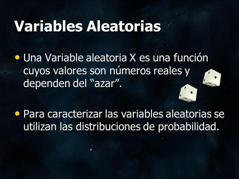 Variables Aleatorias Una Variable aleatoria X es una función cuyos valores son números reales y dependen del azar .