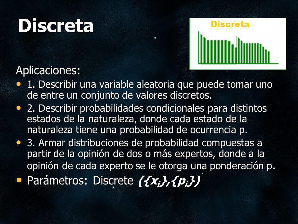 Discreta Aplicaciones: Parámetros: Discrete ({xi},{pi})
