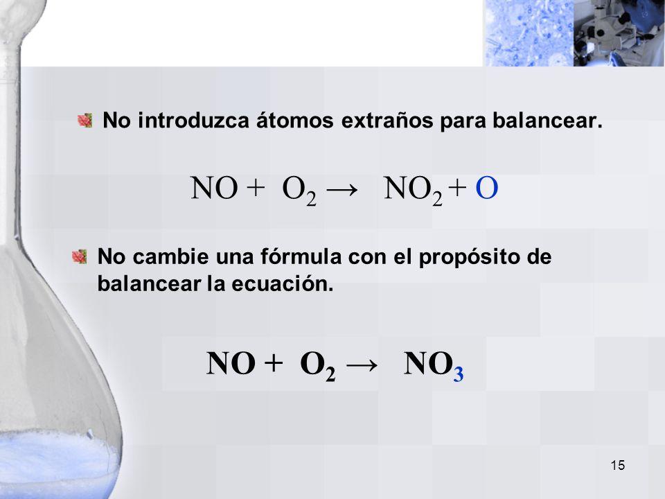 No introduzca átomos extraños para balancear.