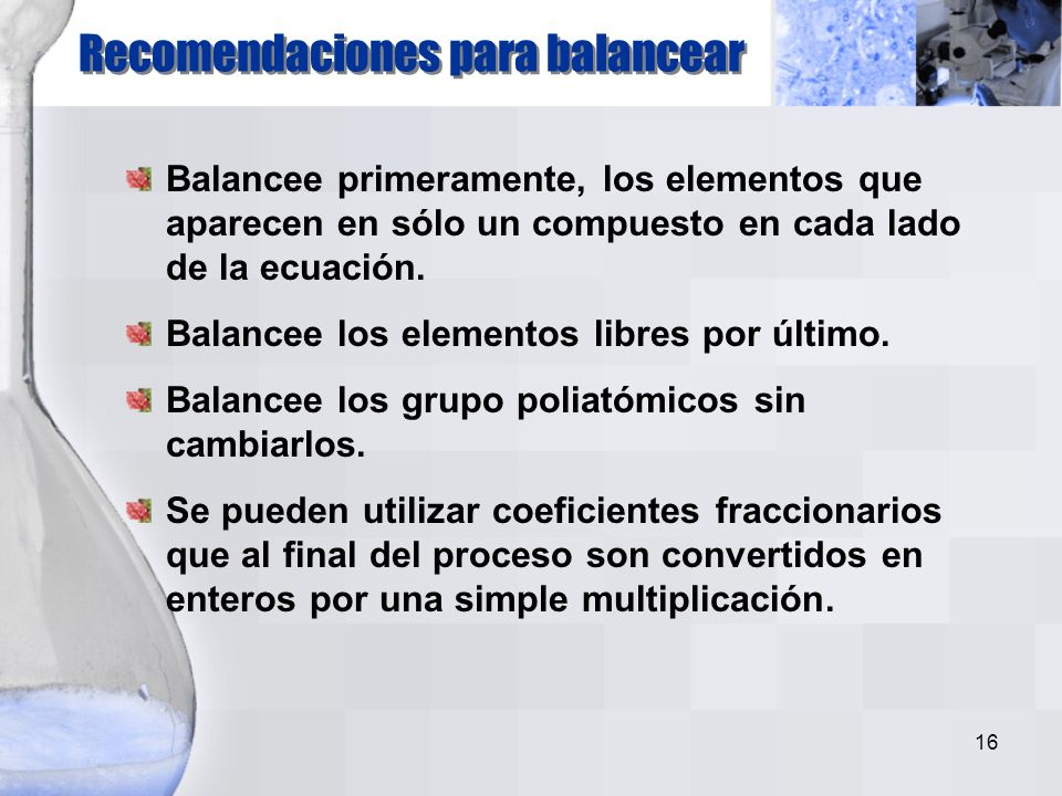 Recomendaciones para balancear