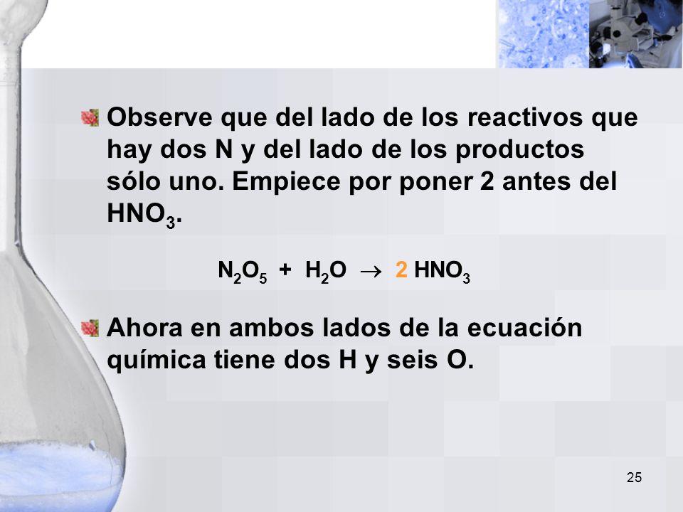 Observe que del lado de los reactivos que hay dos N y del lado de los productos sólo uno. Empiece por poner 2 antes del HNO3. N2O5 + H2O  2 HNO3