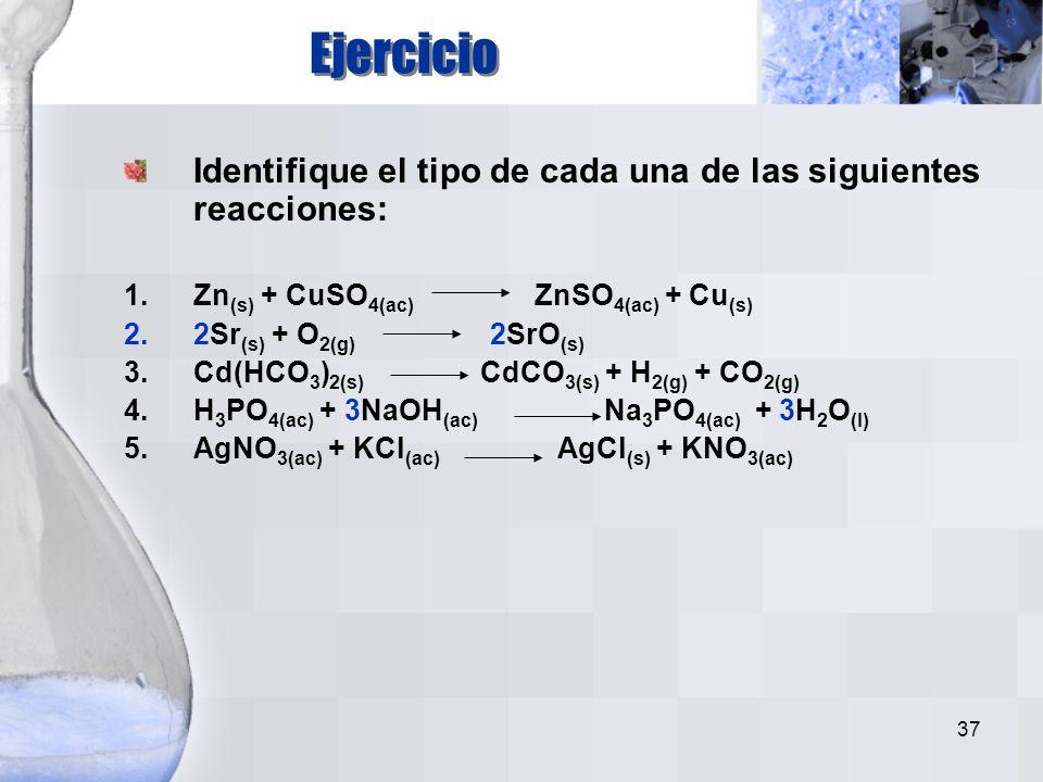 Ejercicio Identifique el tipo de cada una de las siguientes reacciones: Zn(s) + CuSO4(ac) ZnSO4(ac) + Cu(s)