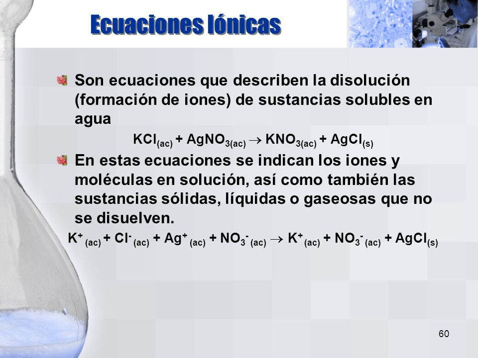 KCl(ac) + AgNO3(ac)  KNO3(ac) + AgCl(s)