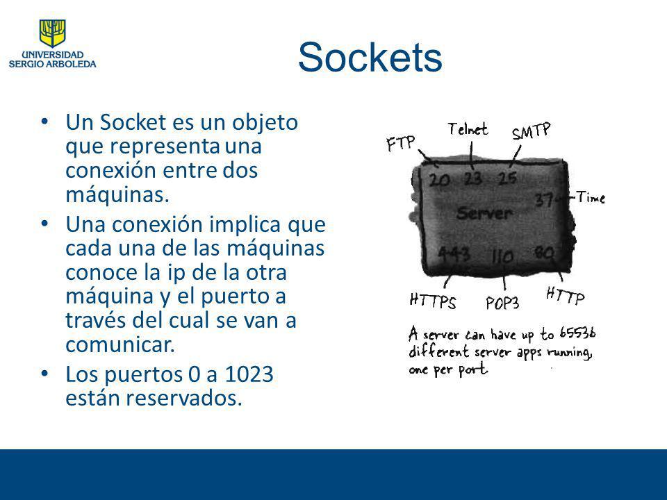 Sockets Un Socket es un objeto que representa una conexión entre dos máquinas.