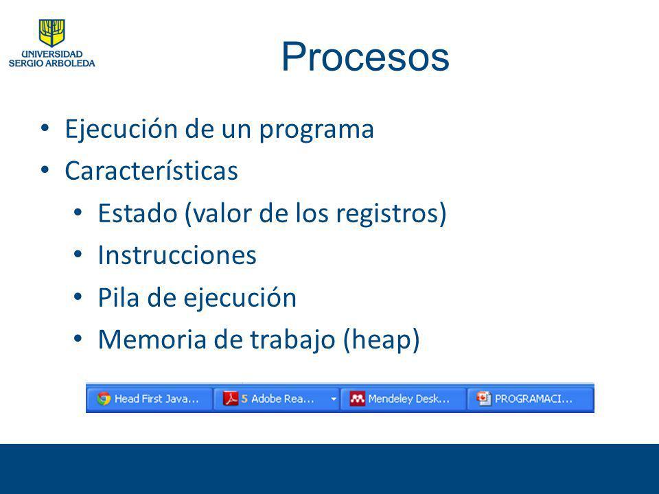 Procesos Ejecución de un programa Características