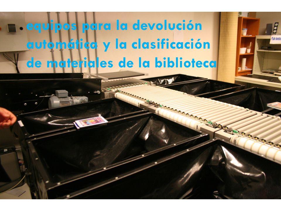 equipos para la devolución automática y la clasificación de materiales de la biblioteca