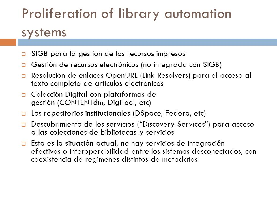 Proliferation of library automation systems