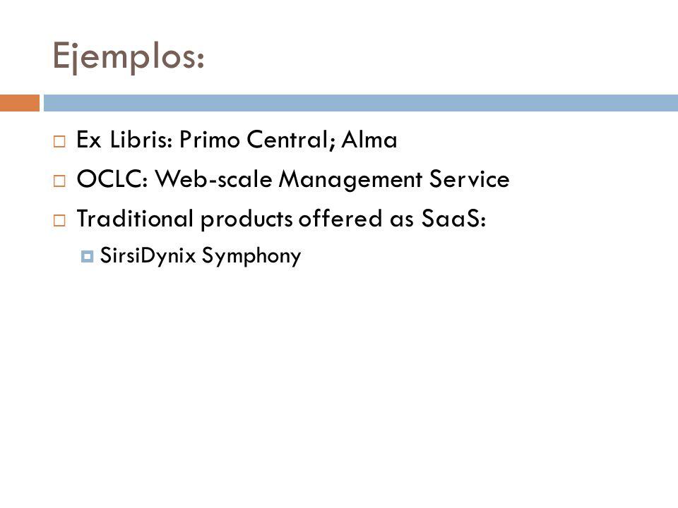 Ejemplos: Ex Libris: Primo Central; Alma