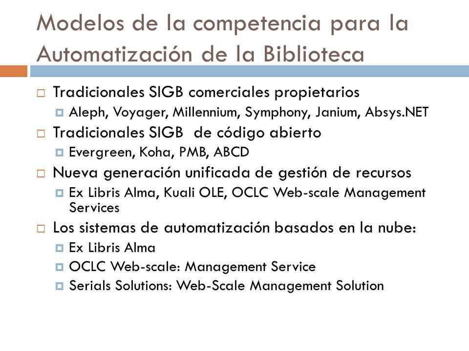 Modelos de la competencia para la Automatización de la Biblioteca