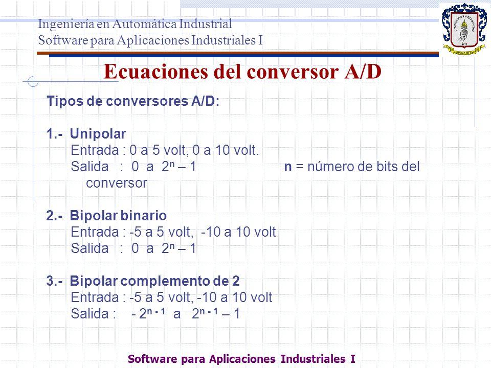 Ecuaciones del conversor A/D