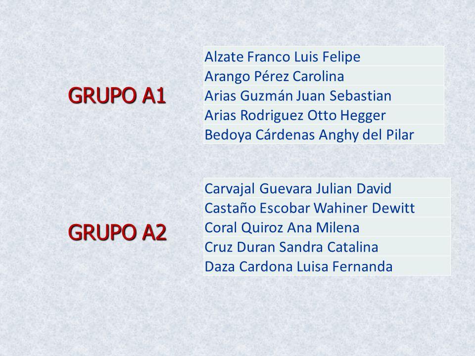 GRUPO A1 GRUPO A2 Alzate Franco Luis Felipe Arango Pérez Carolina