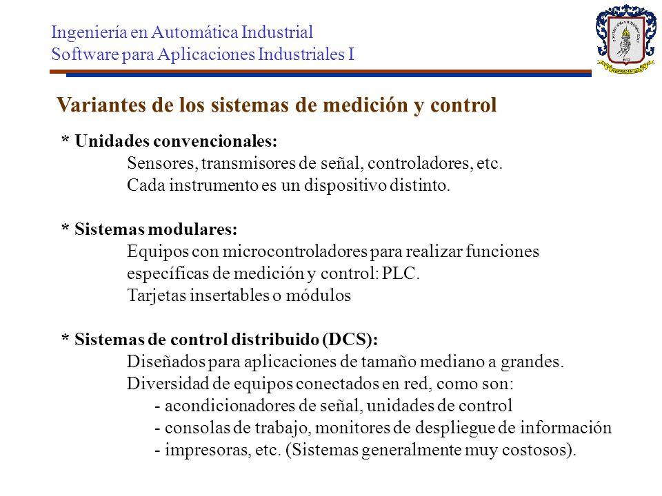 Variantes de los sistemas de medición y control