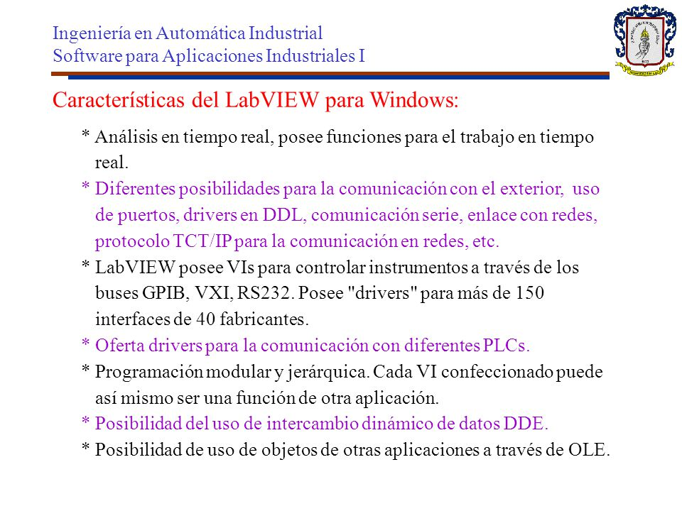 Características del LabVIEW para Windows: